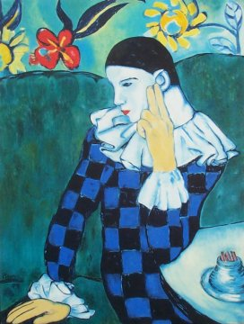 Pablo Picasso - Thoughful Harlequin